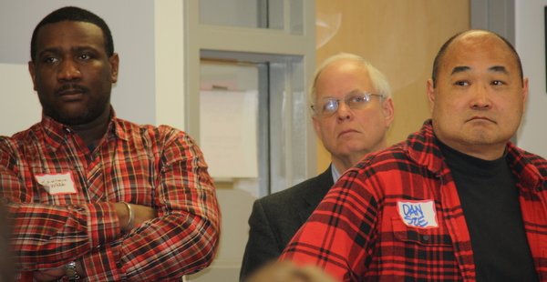 While the entire City Council watched, including Lawrence Webb, Dave Snyder, and Dan Sze.